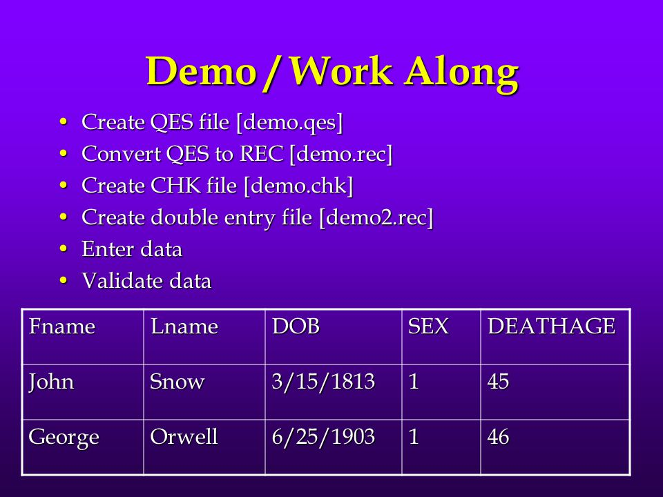 Demo / Work Along Create QES file [demo.qes]